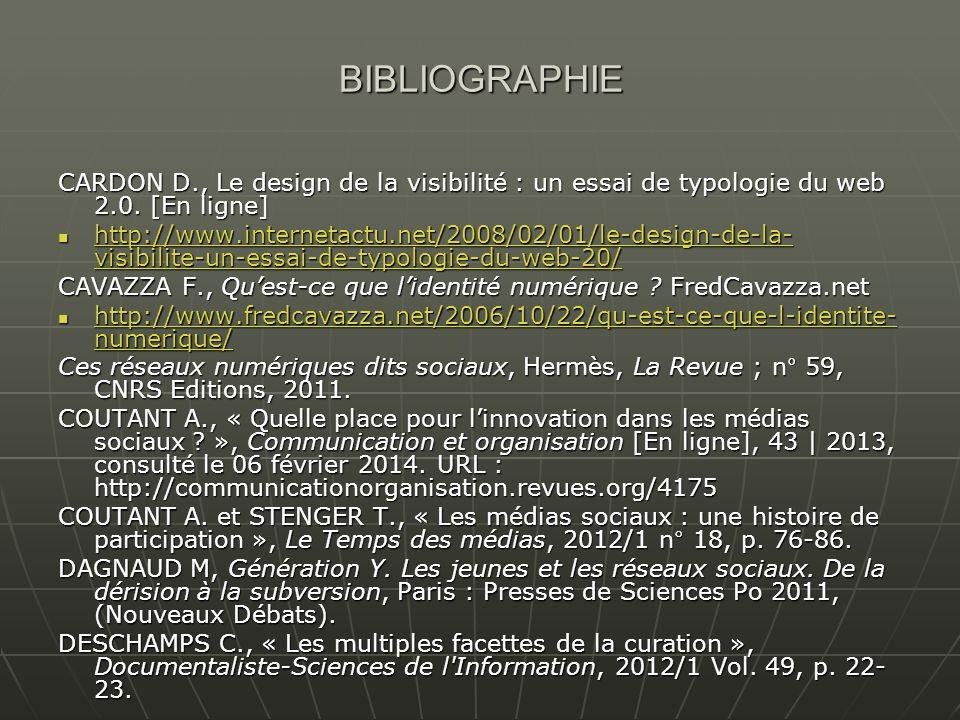 BIBLIOGRAPHIE CARDON D., Le design de la visibilité : un essai de typologie du web 2.0. [En ligne]